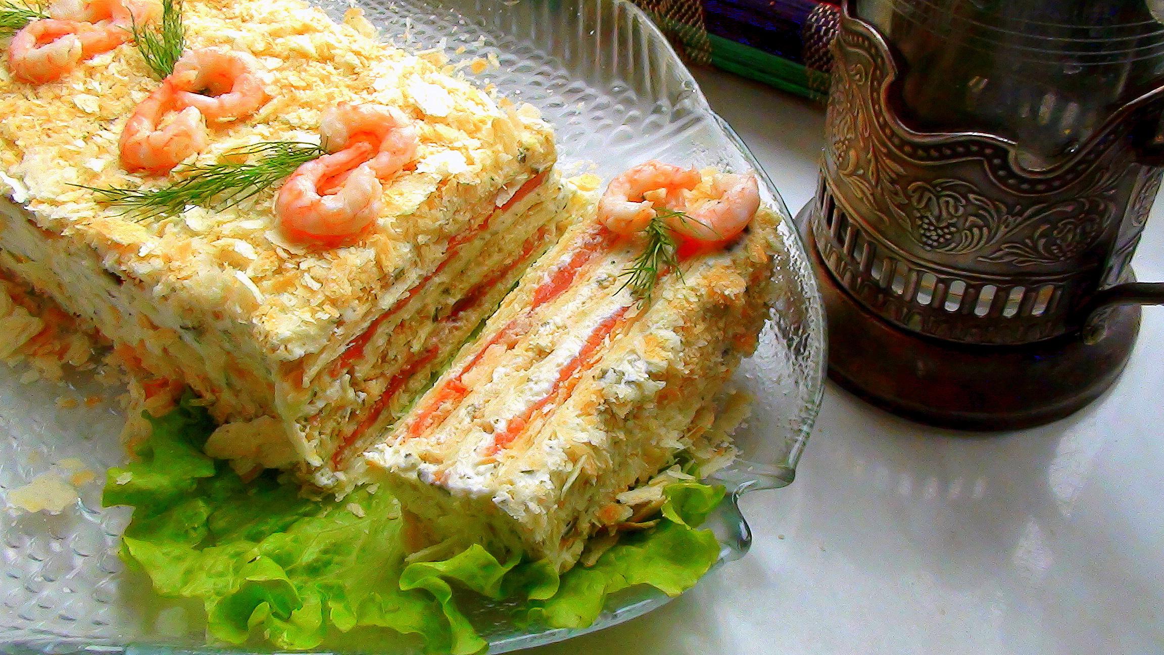 Закусочный торт из коржей наполеон с грибами