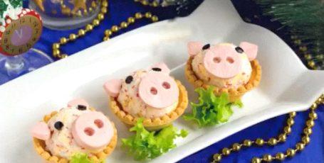 """Оригинальная закуска в тарталетках """"Свинки"""""""