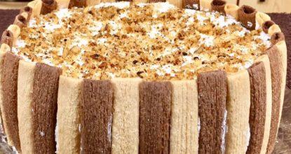 Быстрый торт без выпечки «Тропиканка»: из печенья бамбук