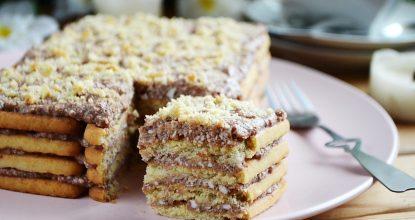 Торт без выпечки из печенья с творогом «Семейный»