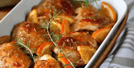Курица запеченная в апельсиновом соусе с розмарином