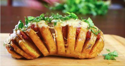 Картошка-гармошка с ветчиной