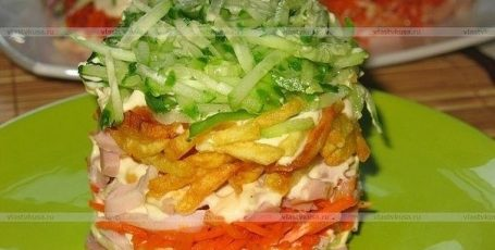 Слоеный салат с курицей и картофелем