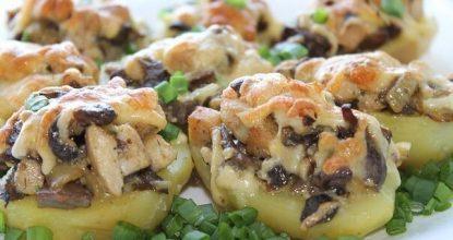 Картошка с курицей и грибами