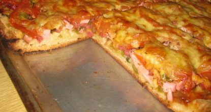 Заливная пицца на майонезе в духовке