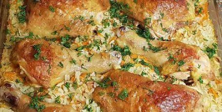 Ужинаем замечательной курицей и рисом