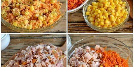 """""""Салат с корейской морковкой и копченой курицей"""""""