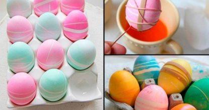 Декорирование яйца с помощью красителя и резинок