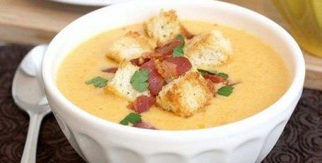 Сырный суп пo-французски с чеснoчными гренками