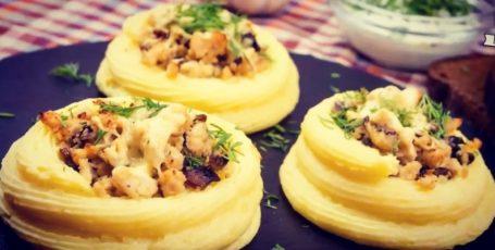 Фаршированные картофельные гнезда. Супер рецепт! Три варианта начинки!