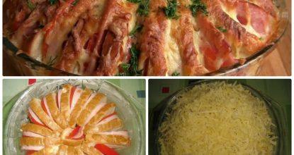 Ленивый пирог из батона, колбасы и сыра. Готовится быстро и просто, съедается за пару минут!