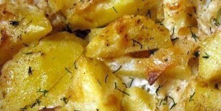 Скумбрия с картофелем, запеченные под майонезом